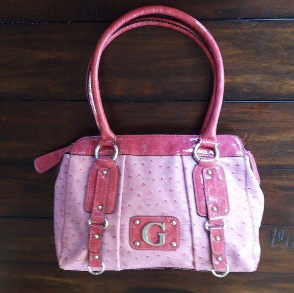 5c81f5a31176f G by Guess Ostrich Leather 2-tone Pink Satchel. Satchel. Satchel ·  Crossbody.
